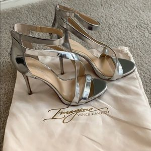 Silver Crossed Imagine Vince Camuto Heels!